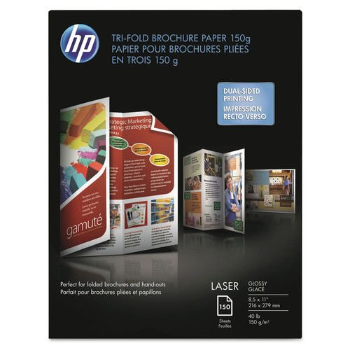 (HP - Tri-Fold Laser Brochure Paper, 97 Brightness, 40lb, 8-1/2 x 11, White, 150 /Pack - Sold As 1 Pack - Rival commercial print quality, without leaving the office.)