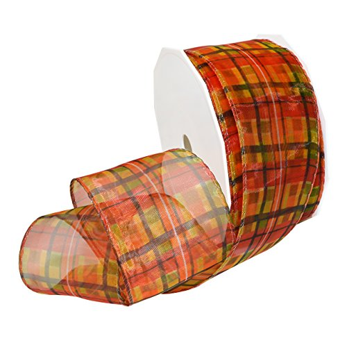 Morex Ribbon 18160/50-358 French Wired Polyester Fall Plaid, 2 3/8