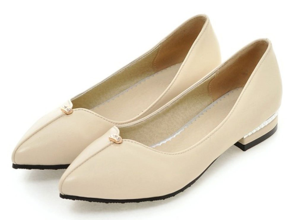 Aisun Women's Fashion Slip Resistant Wear to Work Office Low Cut Pointed Toe Dress Slip On Flats Shoes Beige 11 B(M) US