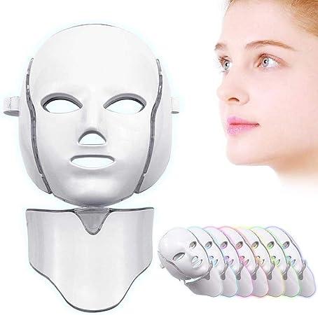 7 Colores Máscara De Terapia De Luz con Máscara para El Cuello Instrumento para Terapia De Colágeno Antienvejecimiento Apriete Cicatrices Blanqueamiento Belleza LED Máscara Facial: Amazon.es: Deportes y aire libre