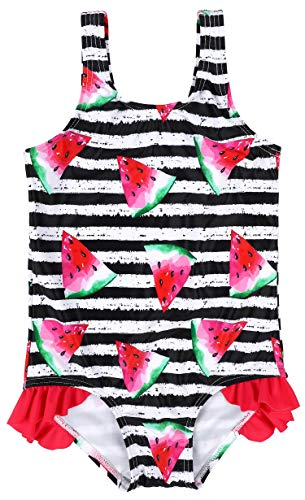 - ATTRACO Baby Girls Ruffle Striped Watermelon Swimsuit 1 PC Black 6-12 Months