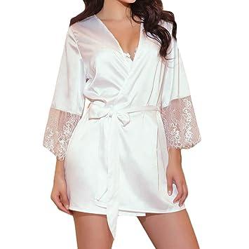 44496cc32d Bonkkara Women s Lace Satin 3Pcs Sleepwear+G-String+Belted Patchwork Long  Sleeve Nightgown Kimono Robes  Amazon.co.uk  Sports   Outdoors