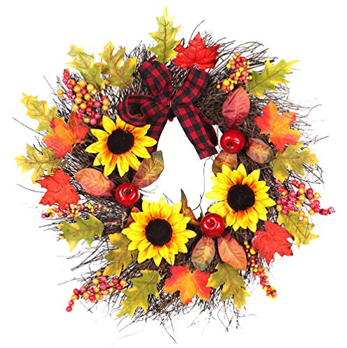Home Decoration Flower Wreath, Elevin(TM) 45cm Sunflower Maple Bow Maple Leaf Fall Door Wreath Door Wall Ornament Christma by Elevin(TM) _ Home Decor & Kitchen