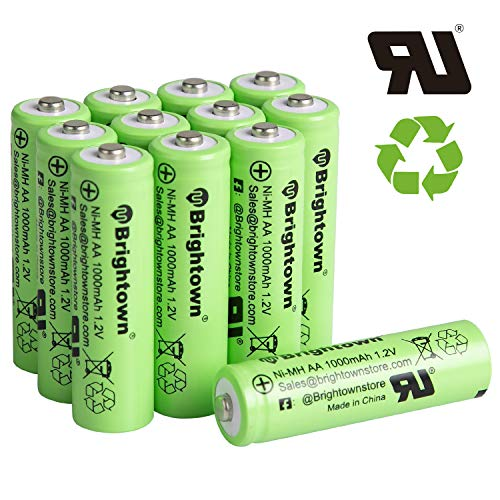 12 Pack Ni-Mh AA 1000mah 1.2v Pre-Charged Rechargeable AA Batteries for Solar Lights Battery String Lights Digital Camera Remote (Aa Batteries Rechargable)