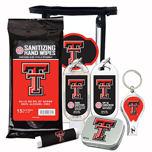 Texas Tech Red Raiders 6-Piece Fan Kit with Decorative Mint Tin, Nail Clippers, Hand Sanitizer, SPF 15 Lip Balm, SPF 30 Sunscreen, Sanitizer Wipes. NCAA Gifts for Men and Women