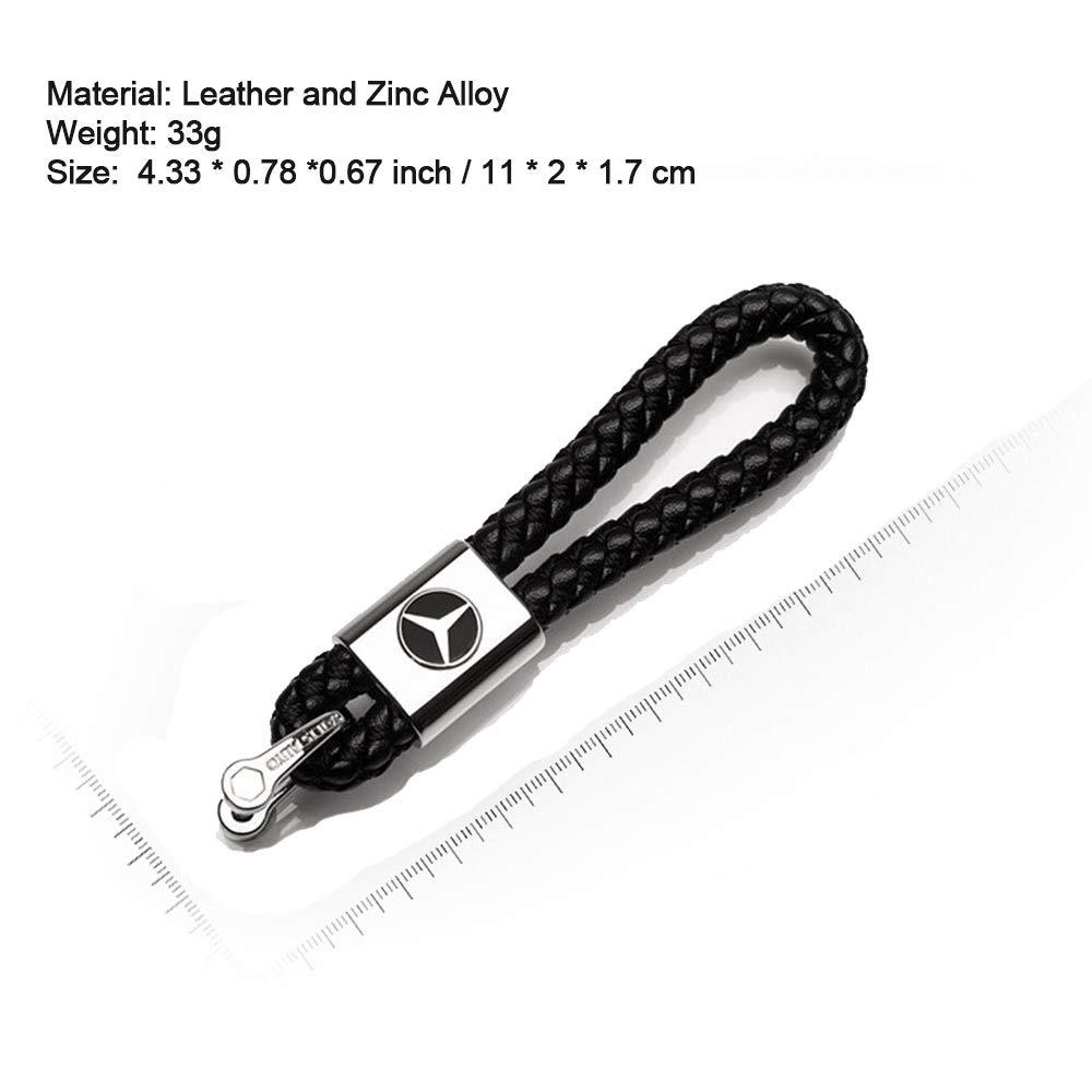 VILLSION 2Pack Genuine Leather Car Logo Keychain Mercedes Benz Key Chain Accessories Keyring