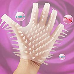 Wolf Tooth Female Ejaculation Silicon Glove Massaging Glove - White by KMZ-SexToy