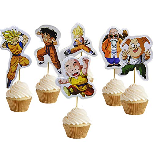 GEORLD 48Pcs Dragon Ball Dragonball Z Cupcake Topper Birthday Party Supplies Decorations