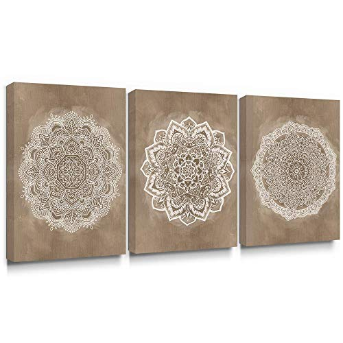 Takfot Canvas Wall Art for Bedroom Boho Decor Flower Canvas Paintings Brown and White Mandala Pictures Indian Artwork Prints Living Room Bathroom 12×16 inch, 3 Panels