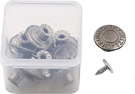 20 Pieces Jeans Button Tack Buttons Snap Fastener Press Studs Metal Replacement Kit with Storage Box 0.67 Inch Diameter 17MM Style 4