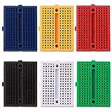 FULARR 6Pcs Premium 170 Tie-Points Breadboard Set, Solderless Prototype PCB Board, 6 Color Mini Modular Breadboard, with Double Sided Tape for Arduino Proto Shield