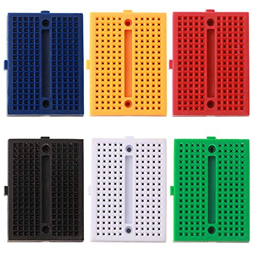 FULARR 6Pcs Premium 170 Tie-Points Breadboard Set, Solderless Prototype PCB Board, 6 Color Mini Modular Breadboard, with Double Sided Tape for Arduino Proto Shield ()