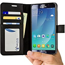 Note 5 Case, Abacus24-7 [Wallet Series] Samsung Galaxy Note 5 Case with Flip Cover & Stand, Black