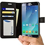 Note 5 Case, Abacus24-7 Samsung Galaxy Note 5 Wallet with Flip Cover and Stand, Black