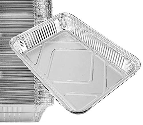 15 Pack - Aluminum Pans, Durable Chafing Pans, Half Size Roasting Pans - Disposable Aluminum Foil Steam Table Deep Pans, Buffet Pans Size - 10