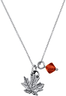 product image for Danforth - Maple Leaf Mini Necklace - Pewter Pendant - Swarovski Crystal - 17 Inch Chain - Handcrafted - Made in USA
