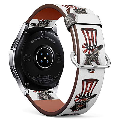 S-Type Replacement Leather Strap Printing Wristbands Compatible with Samsung Galaxy Watch 42mm 46mm Watch Band - 4th of July Celebration hat with Scratch Devil Skull
