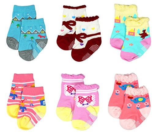 Liwely 6 Pairs Baby Girls Socks, Anti Slip Skid Socks with G