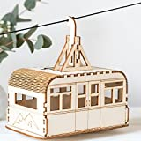 Beautiful Alpine Cable Car Solar powered Nightlight Wooden Craft Kit - This retro cable car kit comes with simple instructions and everything you need to make it - comes in a lovely gift box!