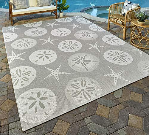 Gertmenian 21560 Nautical Tropical Carpet Outdoor Starfish Rug, 5x7 Standard, Beige Sand Dollar ()