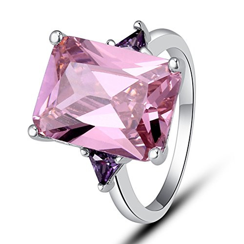 Psiroy Women's 925 Sterling Silver Created Pink Topaz Filled Statement Ring Size 10