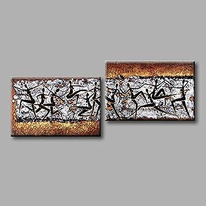 WJ-HOME Pintura al óleo Pintado a Mano - Abstracto Moderno Incluyen Lienzo Bastidor Interior,80cm*80cm*2