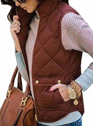 Fit Women's today Classic Jacket Stand Sleeveless Down Vest Collar UK Brown Coat wIARq15