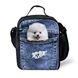 LedBack 3D Animal Lunch Bag for Kids Denim Dog Insulated Lunch Box Girls Cute Cooler Bag Light Weight Thermal Lunch Bag for Women Mini Fashionable Lunch Case Teens Food Containers Portable Picnic Bag