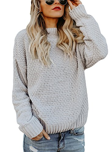 HOTAPEI Women s Winter Thick Soft Cute O Neck Velvet Cable Knit Long Sleeve  Pullover Sweaters Loose Fit Grey Large b9625db90