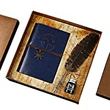 Quill Pen Feather Pen Set, GloDeals Calligraphy Pen Antique Writing Dip Pen Ink and Quill Set with The Ink in Bottle Leather Journal Notebook
