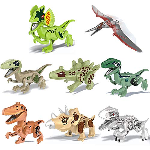 (JonerytimeBaby Toy 8 Pack Dinosaur DIY Building Blocks Action Figures Playset DIY Toys for Kids)