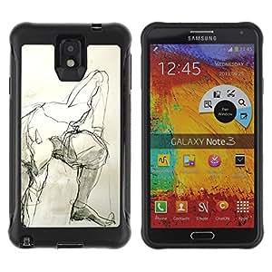 LASTONE PHONE CASE / Suave Silicona Caso Carcasa de Caucho Funda para Samsung Note 3 / Pencil Man Art Body Human