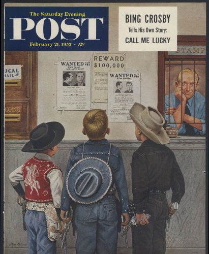(Saturday Evening Post COVER ONLY 1953 Stevan Dohanos cowboy kids wanted posters)