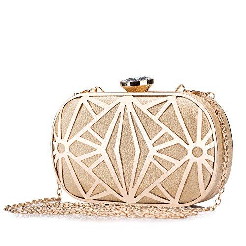 CLOCOLOR Exquisite Leather Metal Hollow Designer Clutch Bag Evening Handbags Water Cube Purse Women Evening Clutch Bag
