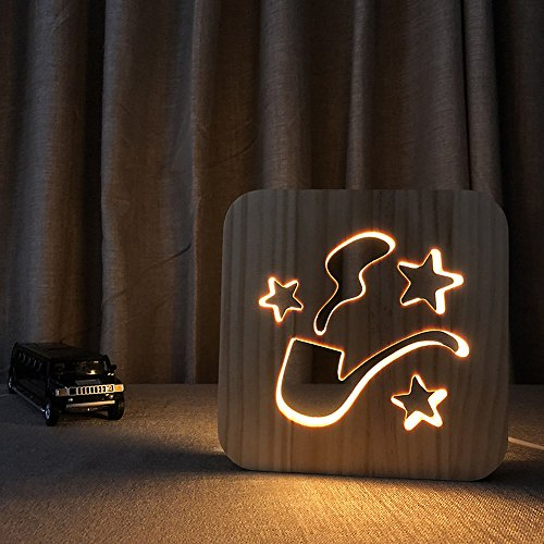 (Night Light for Kids Tobacco Pipe Wooden 3D Lamp Creative wooden lights 3D wood carving pattern LED Night Light for Desk Table with USB Powered Home Decoration Best Gift for Kids)