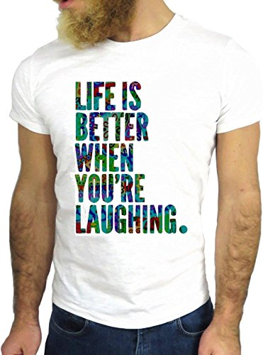 T SHIRT JODE Z1454 LIFE IS BETTER WHEN YOU ARE LAUGHING FUN COOL FASHION NICE GGG24 BIANCA - WHITE S