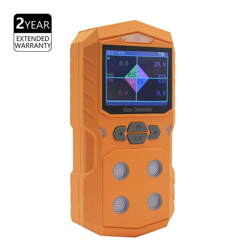 4 Gas Detector Portable Multi Gas Detector Monitor Color Display with Graphing Rechargeable Battery Sound Light Alarm 4 in 1 Gas Analyzer by XLA Alert