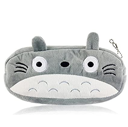 Kimkoala Cute Plush Pencil Bag Totoro Pencil Holder Pouch Cartoon Animal Toy Coin Purse Pen Bag