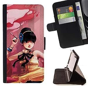 For Samsung Galaxy S5 V SM-G900 - Cute Smoking Girl /Funda de piel cubierta de la carpeta Foilo con cierre magn???¡¯????tico/ - Super Marley Shop -