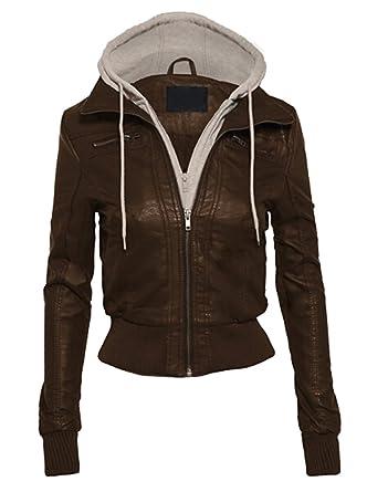 MILEEO Damen Herbst PU Lederjacke Winter Kapuzen Kunstleder Damen Jacke  Motorradjacke Ladies Oberbekleidung: Amazon.de: Bekleidung
