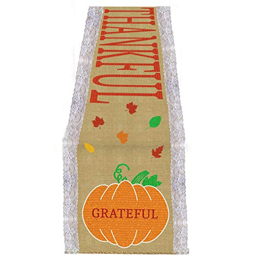 Mosoan Thanksgiving Table Runner - 14 x 108 Inches Large - Burlap and Lace Table Runner for Thanksgiving Dinner Table Decorations - Thanksgiving Table Runner with Blessed Thankful Grateful Sign