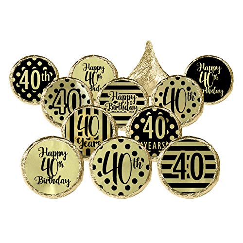 Black and Gold 40th Birthday Party Favor Stickers   Shiny Foil   324 Count -