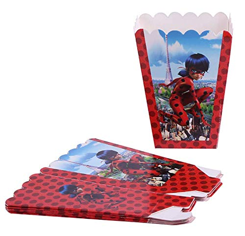 - Astra Gourmet Miraculous Ladybug Popcorn Boxes - Baby Shower or Birthday Party Favor Popcorn Treat Boxes - Set of 24