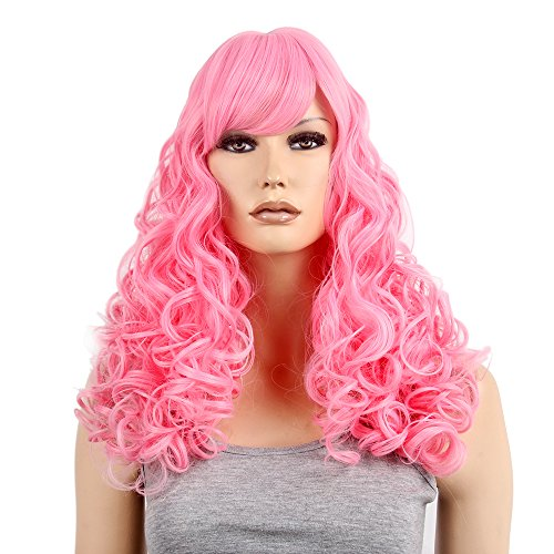 Brazilian Carnival Costumes Fancy Dress (Pastel Pink Wig Mid Length Ocean Wave Long Curly for Women Cosplay Party Ripple Hair 21