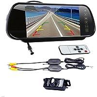 Boddenly 7 LCD Screen Car Rear View Mirror Monitor+Wireless Reverse IR Night Vision Car Reverse Rear View Backup Camera Kit