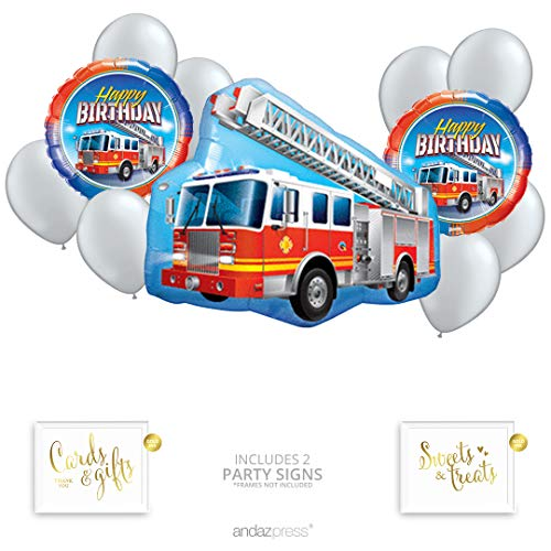 Andaz Press Fire Truck Party Balloon Bouquet Set, Fire Man Birthday Party Supplies, Inflatable Foil Mylar and Latex Fire Engine Balloons, Balloon for Party Decorations, Fire Fighter Birthday ()