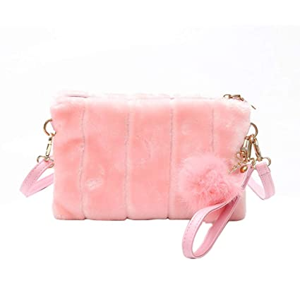 cd9cc18a40 Amazon.com: lightclub Fashion Fluffy Envelope Shape Thin Strap Women  Shoulder Bag Coin Purse Pouch Cross Body Bag Pink: lightclub