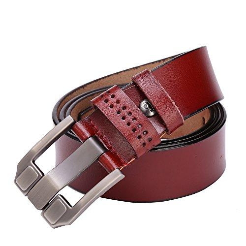 BISON DENIM Classic Belts For Men - Mens Genuine Leather Belt for Dress & Jeans Brown 125cm by BISON DENIM (Image #4)