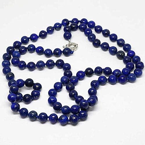 NOLOGO Gxbld-yy Recién Azul de lapislázuli Piedra lapislázuli de los Granos Redondos Naturales Egipcio 8,10,12mm Elegante Larga Cadena Collar de la joyería 36inch (Talla : 12mm)