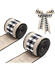 LUTER 2 Rolls 6 Yard Plaid Ribbon Burlap Fabric for Crafts, Plaid Burlap Wired Ribbons Strap Christmas Decorations for DIY Crafts Making Countryside Style Bow-Knot (Black and White)